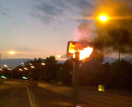 burning tire on a gatso