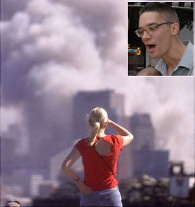 WHODUNIT: The view of 9/11 from New Jersey and (inset) Sander Hicks, who has problems with an upcoming TV special .