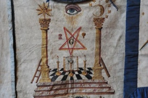 Masonic apron hanging in the museum room of the Grand Lodge of Scotland