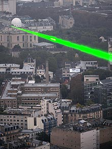 Every time the detector picks up a a muon, a pulse of laser light will flash across the sky from the Paris Observatory  Photo: AFP/GETTY