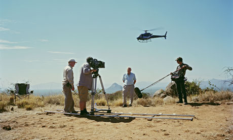 Sir David Attenborough filming opening Of Africa Series, Northern Kenya